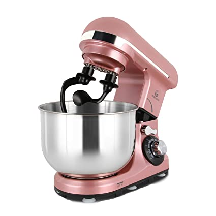 Stand Mixer Double Shaft, MURENKING 4-Qt 300W Tilt-Head 6 Speed Electric  Food Mixer Kitchen MK18C, Stainless Steel Bowl, Double Hooks, Beater, Wire