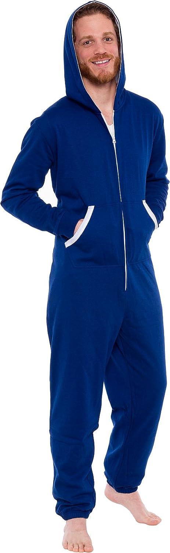 Ross Michaels Men's Hooded Jumpsuit - Zip up One Piece Pajamas