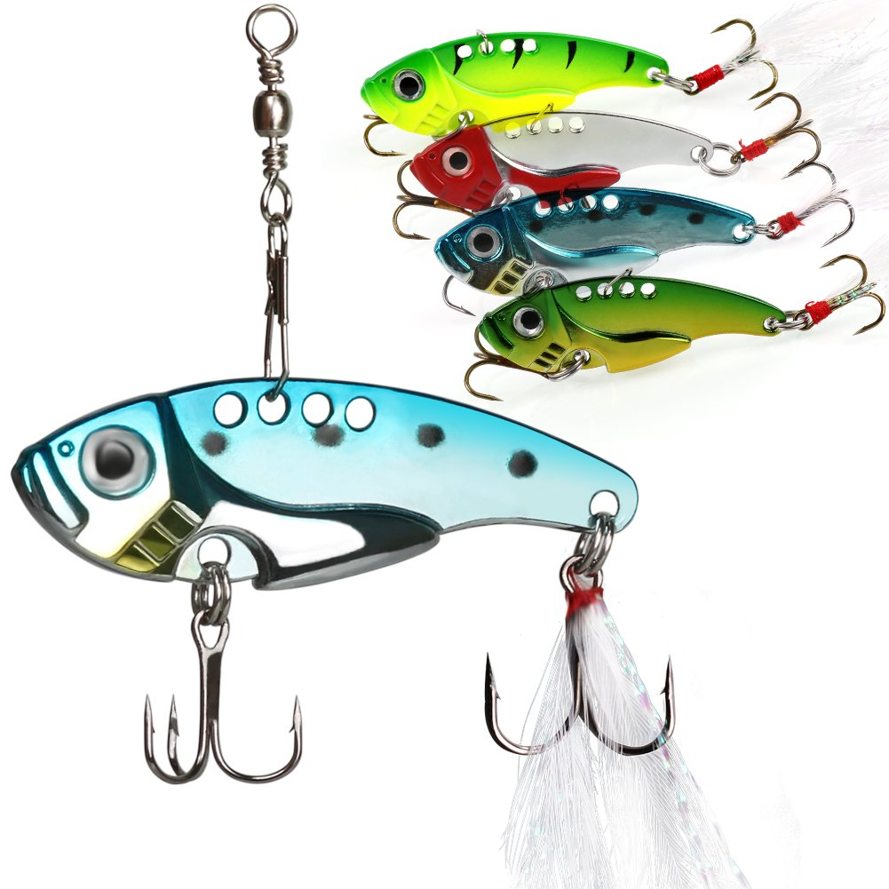 Sougayilang Spinner Spoon Blade Swimbait Freshwater Saltwater Fishing Tackle Lures and Baits Type #1-4pcs by Sougayilang