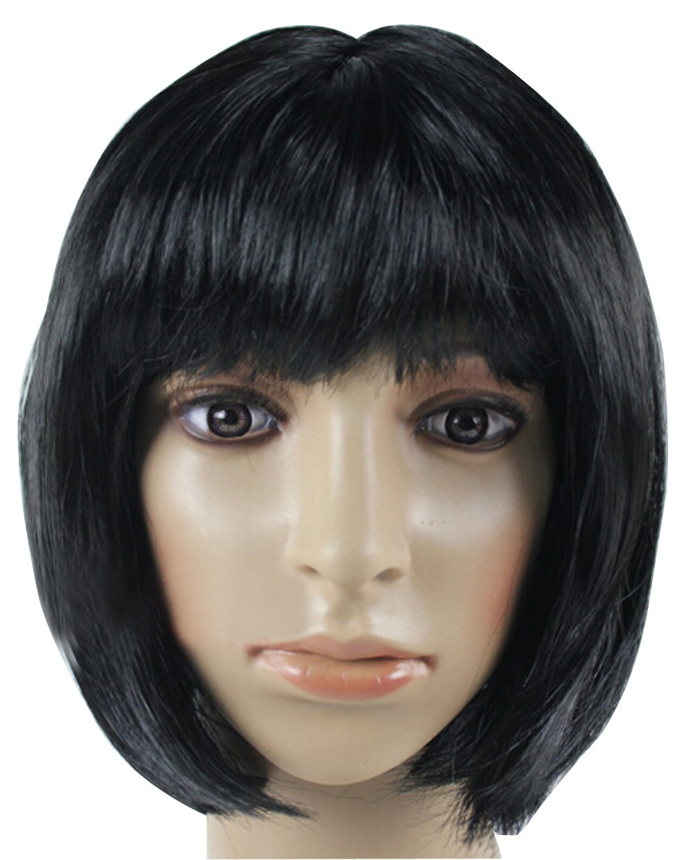 Fashion Cute COS Wigs for Children's Color Bobo Fluffy Short Straight Hair (black)