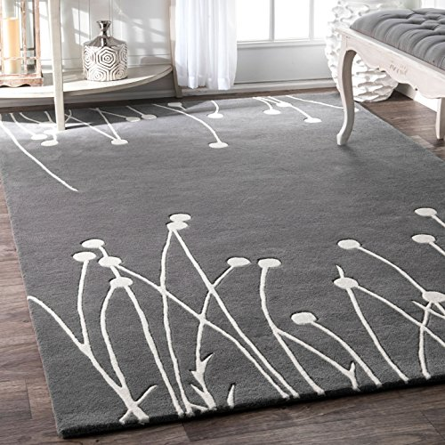 (nuLOOM Grey Hand Tufted Daza Area Rug, 4' x 6')