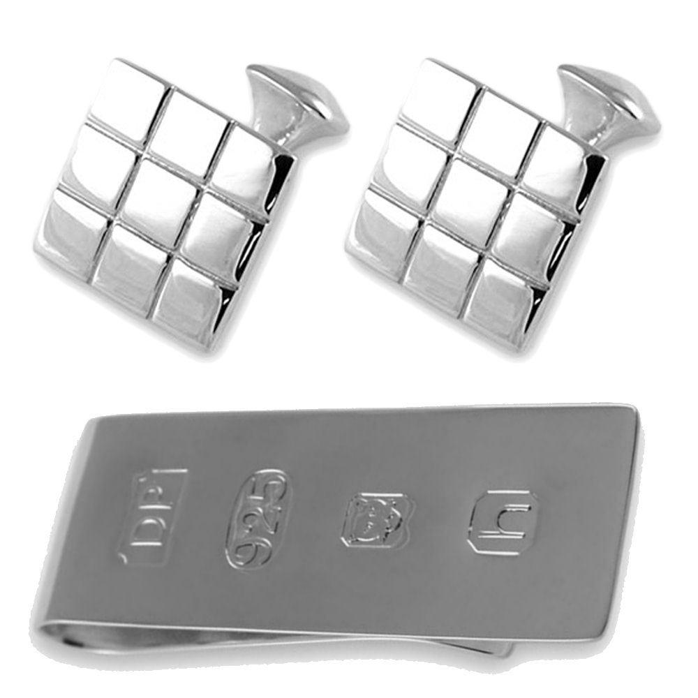 純銀製のチェッカーフラッグスクエアジェームスボンドのお金クリップボックスセットカフスボタン B074S2GPZ5
