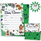 Baby : Woodland Baby Shower Invitations & Diaper Raffle Game - Set of 50 quality animal theme invites & envelopes. Gender neutral party supplies for boy or girl | Alpine Celebrations
