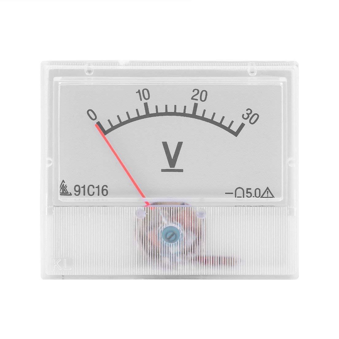 Profesional DC 0-30V Voltaje anal/ógico Medidor de panel Medidor de volt/ímetro con precisi/ón de clase 2.5 Port/átil y pr/áctico Blanco