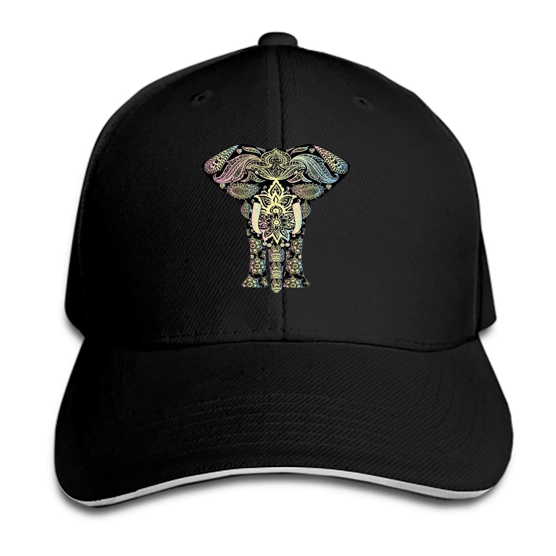 c2622f2bd63 Amazon.com  Tribal Elephant Snapback Cap Flat Brim Hats Hip Hop Caps for  Men Women  Clothing