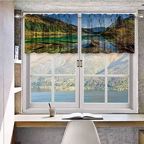 Blackout Short Curtain Panels Rod Pocket Scenic View Arrow Bamboo Lake Among Mountains Colorful Fall