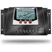 SolaMr 30A Controlador de Carga Solar 12V/24V Voltaje de Identificación Automática Regulador Inteligente con Pantalla LCD para Sistemas Solares Domésticos - WP3024D