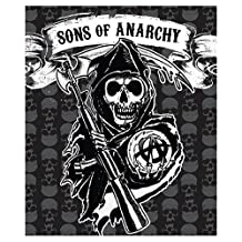 """SOA Sons of Anarchy Mink to Sherpa Throw 50"""" X 60"""" Official Licensed Blanket High Quality"""