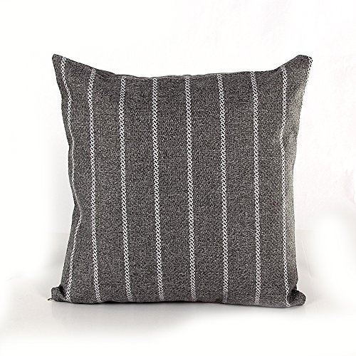 Topotdor Striped in Linen Cushion Covers Square Throw Pillow Case (Small, Grey Pinstripe) (Grey Cushion)