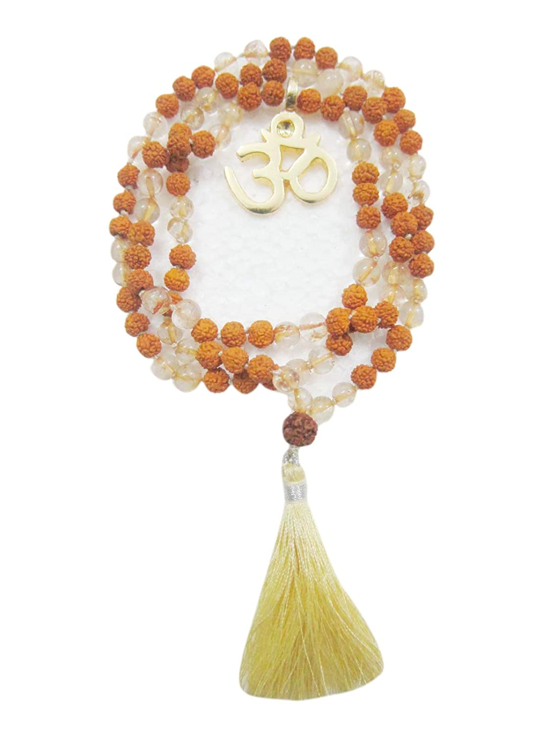 Amazon.com: I am Light, Citrine Rudraksha Om Mala Beads ...
