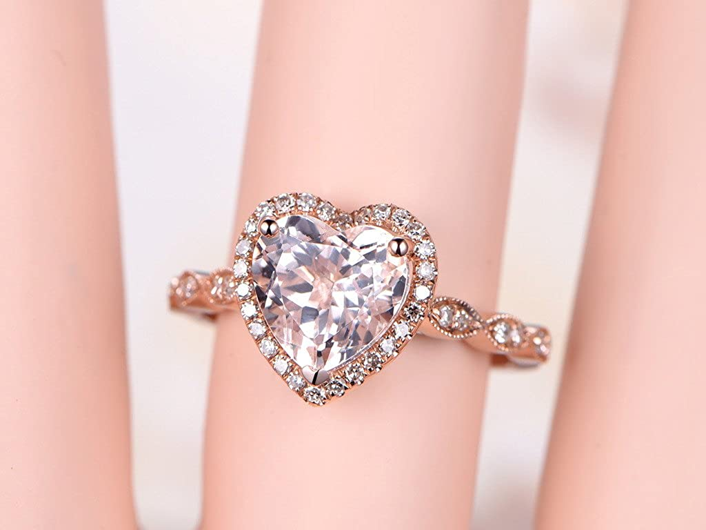 8mm Heart Shaped Cut Pink Morganite 14k Rose Gold Diamond Halo ...