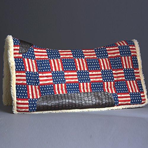 HILASON 31X32 MADE USA WOOL FELT WESTERN HORSE SADDLE PAD USA FLAG -