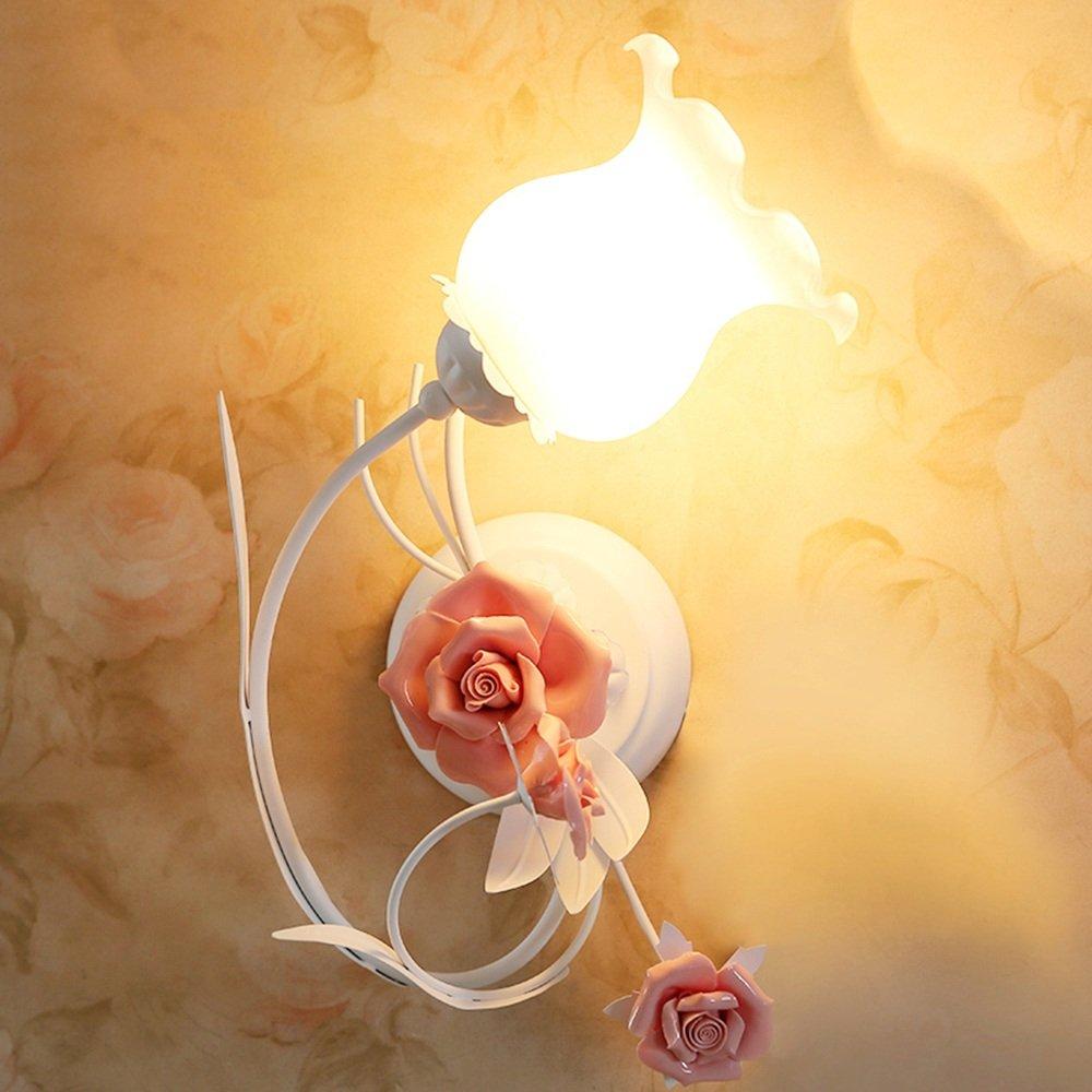 Unbekannt Zhang-Wandleuchte- Schlafzimmer Nachttisch Wandleuchten Eisen Ländlich Blumen Kinderzimmer Wandlampe Gang Treppe Licht - Wandbeleuchtung Dekoration (Farbe : A)