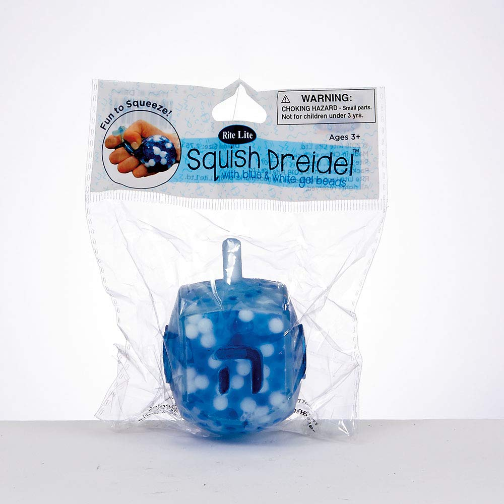 R/&L Squish Dreidel Filled with Blue and White Gel Beads
