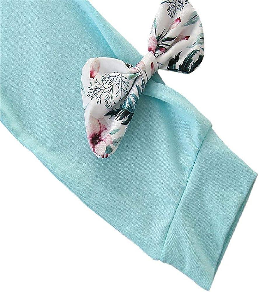 URMAGIC 3PCs Neonata Manica Lunga Completini T-Shirt con Cappuccio a Manica Lunga Fascia per Capelli per 3-24 Mesi Pantaloni a Fiori