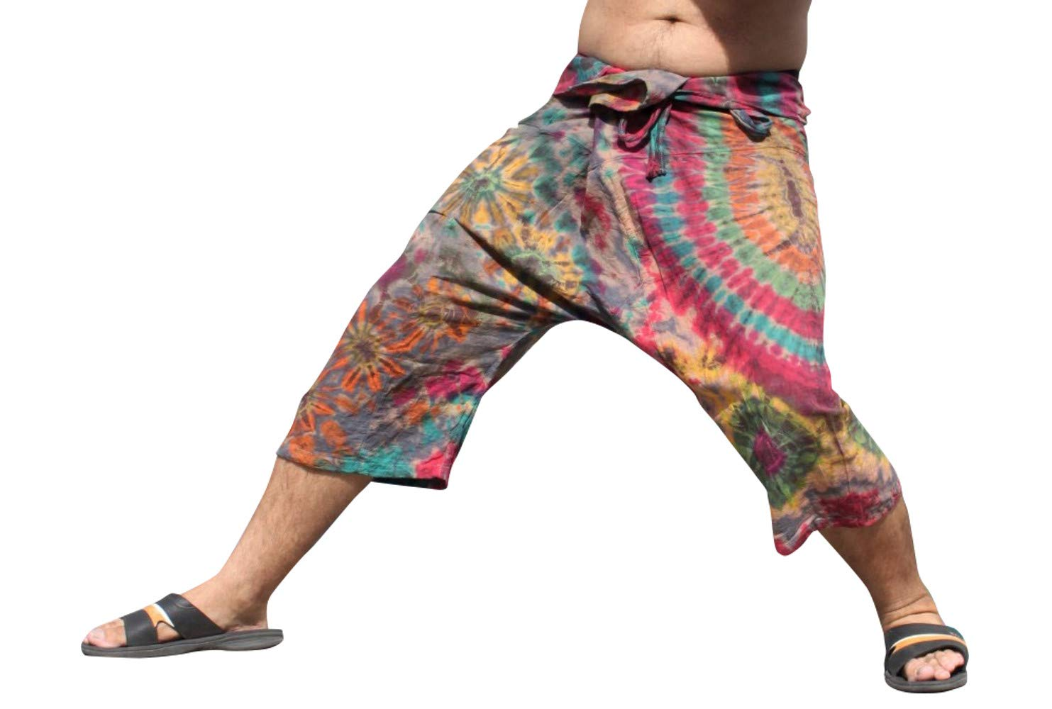 Full Funk Cotton Tie Dyed Natural Colorful Thai Fisherman Wrap 3/4 Leg Pants, Small, Orange Gray by Full Funk