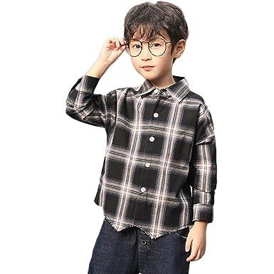 7a383af0e0abe Tokuonn 子供服 キッズシャツ 男の子 ボーイズ チェック柄シャツ 長袖 トップス ジュニア カジュアル 春秋着