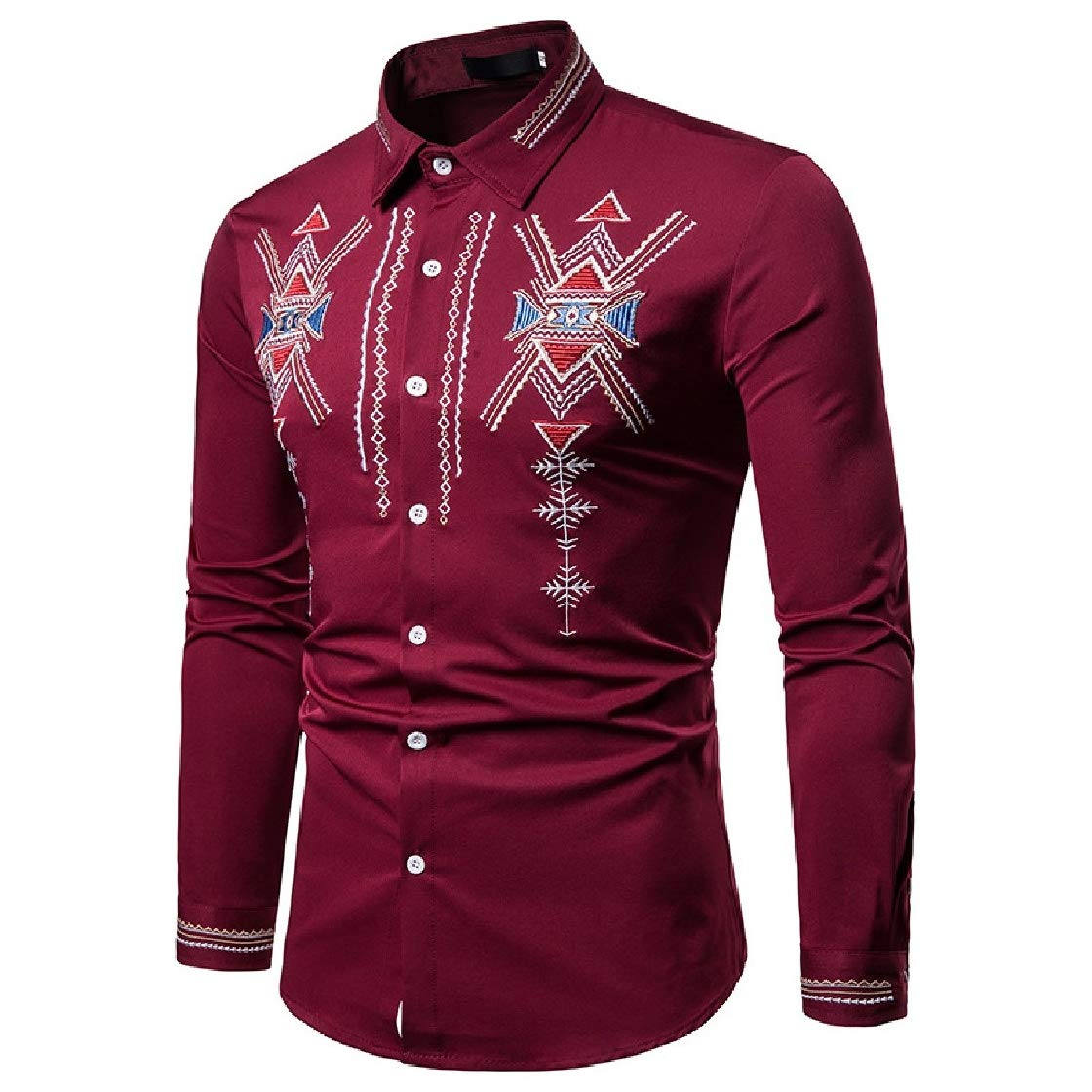 YUNY Mens Floral Embroidery Lapel Collar Long Sleeve Ethnic Style Western Shirt Wine Red L