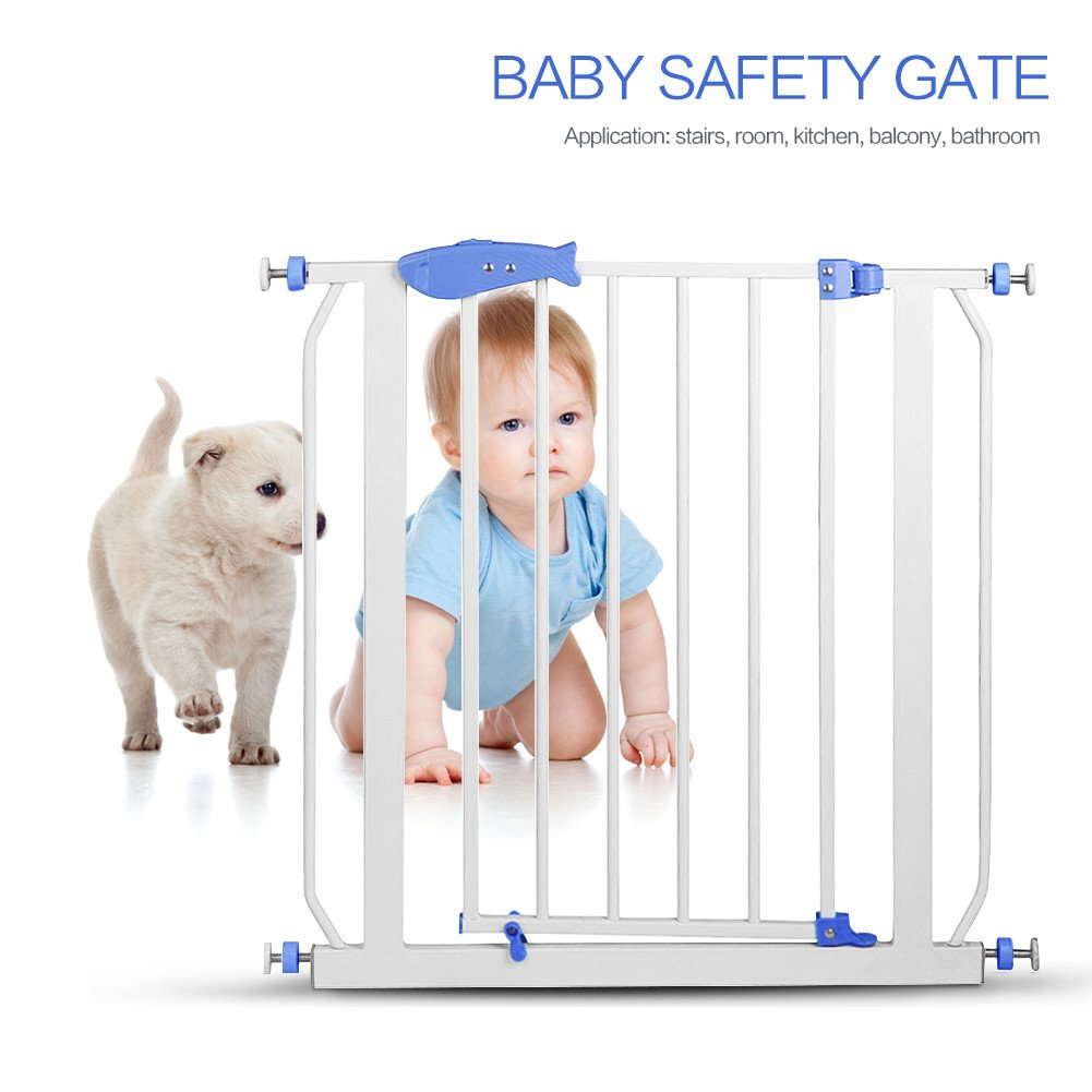 Safety Door Fence, Paymenow Metal Multifunction Children Security Baby Safety Door Gate use in Doorway Staircase Deco Extra Tall Walk for Pets and Toddlers Shipping from Local America