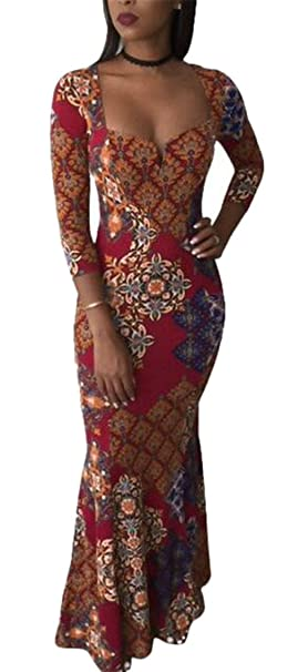 18cd5d16962 ONTBYB Women s Square Neck Vintage Long Sleeve Floral Print Cocktail Party Maxi  Dress Wine Red XXS