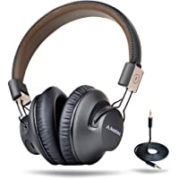 Avantree AS9P Audition Pro 40 hr Aptx Low Latency Bluetooth Headphones for TV Watching, Comfortable Wireless Wired Over Ear Foldable Headset with Mic, HiFi Music for PC Computer - Black & Brown