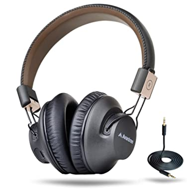 Avantree 40 hr Wireless Bluetooth 4.1 Over-the-Ear Foldable Headphones Headset with Mic, APTX LOW LATENCY Fast Audio for TV PC Computer Phone, with NFC, Wired mode - Audition Pro [2-Year Warranty]