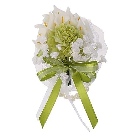 Magideal Elegant Boutonniere Corsage Silk Flower Brooch Pin Wedding