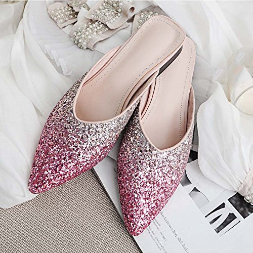 Sandals color Pink Pink Silver 36 Summer Tip Woman Mules Gradient Zapatos Half Fashion Flats Outer Sentiment Jianxin Slip mouth Tamaño Sequins V 1wExTx