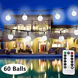 LiyuanQ LED Globe String Lights, 33 Feet 60 Crystal Balls Battery Operated String Lights with Remote Controller, 8 Modes Indoor String Lights Home Wedding Birthday Party Garden Decor (Cool White)