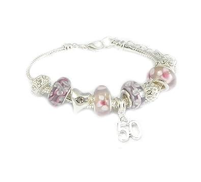 bcad47573 SanaBelleTM 50th Birthday Charm Bracelet Women's Gift Boxed: Amazon.co.uk:  Jewellery