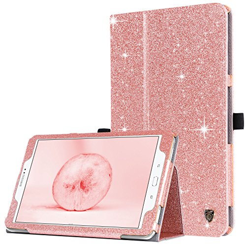 Samsung Galaxy Tab A 10.1 Case,BENTOBEN Slim Lightweight PU Leather Glitter Shiny Stand Smart Folio Cover with Auto Sleep/Wake Feature for Galaxy Tab A 10.1 Inch SM-T580 T585(No Pen Version),Rose Gold (Galaxy Samsung Tab Case)