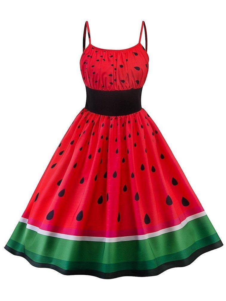 Lealac Women's Summer Spaghetti Strap Sleeveless Tropical Fruits Watermelon Print Swing Vintage Dress XL