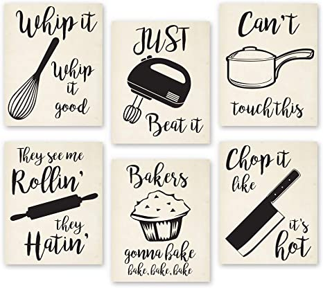 Amazon Com Home Decor Funny Gift 6 Kitchen Wall Art Prints Kitchenware With Sayings Unframed Farmhouse Office Organization Signs Bar Accessories Decorations Sets White House Deco 8 X10 Everything Else