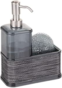 (Smoke/Black) - mDesign Soap Dispenser Pump with Sponge and Scrubber Caddy Organiser for Kitchen Countertops - Smoke/Black