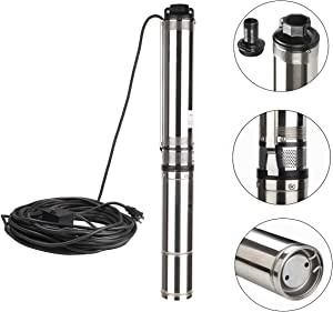 """Trupow 4"""" Deep Well Stainless Steel Submersible Water Transfer Pump with UL Plug, 1 hp, 220V, 60 Hz, 33 GPM, 207' Head, 100ft power cord"""