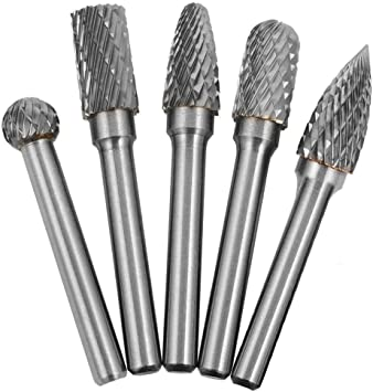 Polishing 1//4 Saipor 5pcs Carbide Burr Set Rotary Burrs Double Cut Carbide Burrs 6mm 10mm Head Shank Tungsten Carbide Rotary File Die Grinder Bits for Carving Engraving Grinding and Drilling