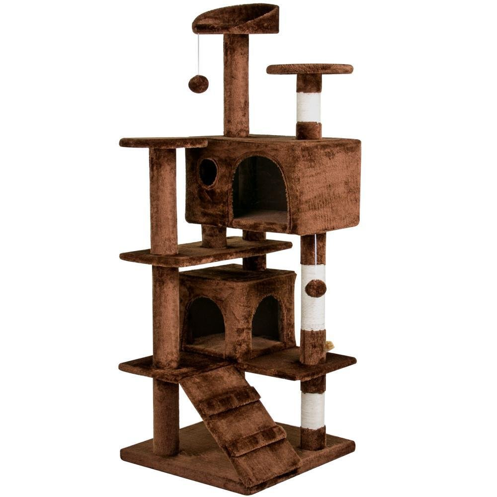 go2buy 53.5'' Indoor Cat Tree/Tower for Kittens Scratching Post Activity Centre Kitten House with Bed Dark Brown
