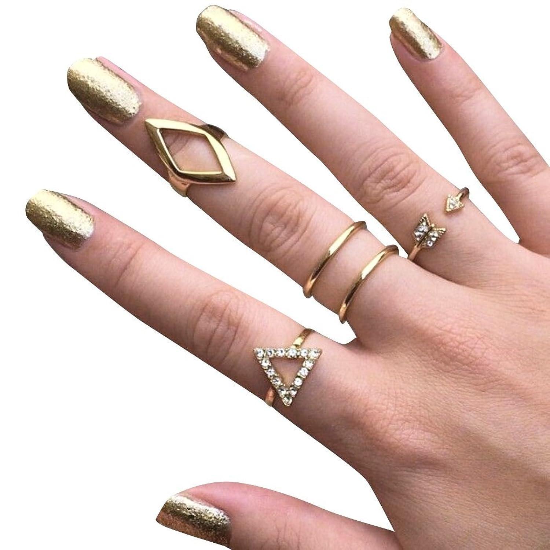 Amazon.com: WEHOPS High Fashion Metal Rings Set 5pcs Punk Rock Style ...