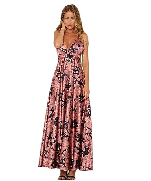 Haroty Largos Maxi Vestidos Tirantes Strapless Backless Escote V Ajustados  Floral Estampado para Mujeres Verano Playa  Amazon.es  Ropa y accesorios c86d8896a94e