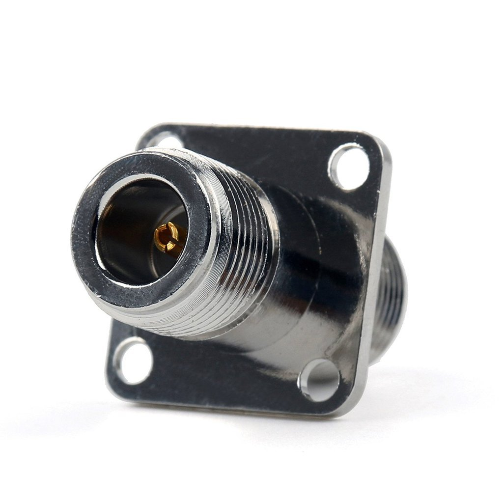2x Adapter N Female To N Female Jack 25.4mm Flange Panel Mount RF Connector Ships from USA by Custom Cables Group LLC