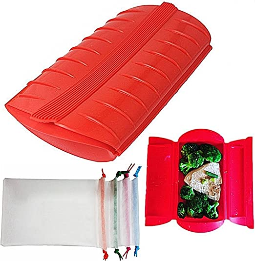 Wewin - Fiambrera de silicona saludable para cocinar al vapor o al vapor, para microondas, cocina, herramientas con bolsa: Amazon.es: Hogar