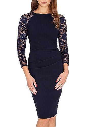 Ssyiz Custom Women's 3/4 Lace Sleeves Cocktail Slim Pencil Midi Dress
