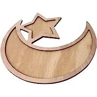 F Fityle Rustic Plain Wooden Crescent Moon & Star Eid/Ramadan Food Snacks Serving Tray