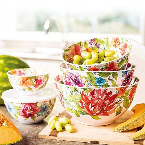 (Melamine 10-Piece Bowl Set with lids Floral Design)