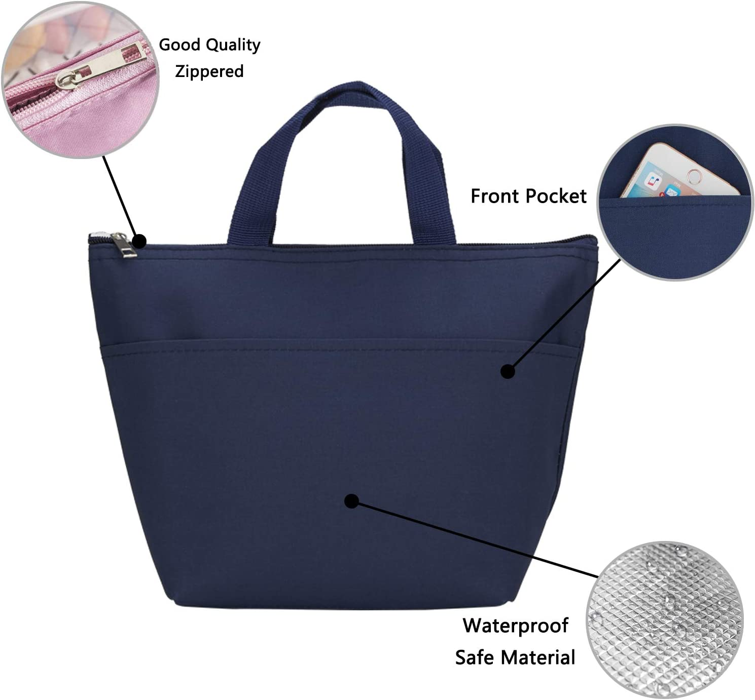 Grey Cooler Bag for Office Work Picnic School MAXTOP Insulated Lunch Bags for Women,thermal Lunch Tote with Front Pocket