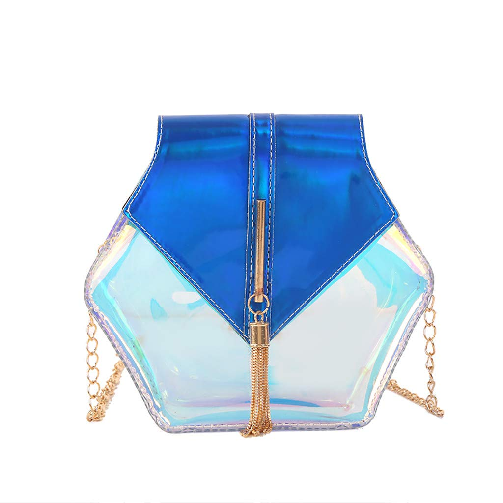 PLENTOP Women Purses and Handbags,Shoulder Bag,Women Chain Tassel Versatile Shoulder Bag Messenger Bag Small Square Bag Blue