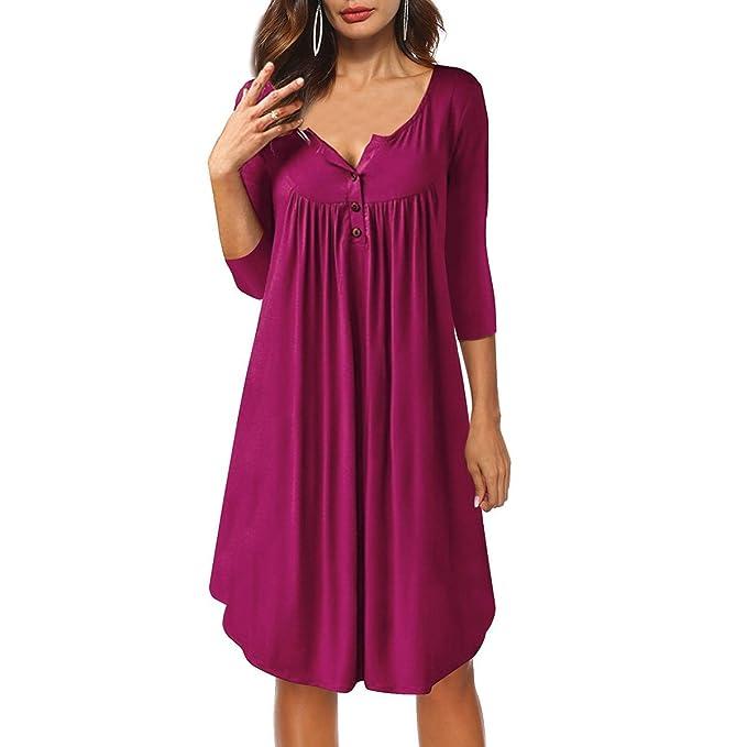 Vestido de Mujer, Lananas Mujer 2018 Otoño Manga 3/4 Botón de Cuello Casual Suelto Pliegue Midi Morado Rojo Vestir Dress: Amazon.es: Ropa y accesorios