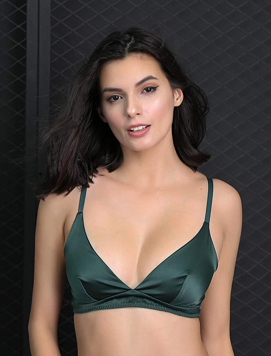 SilRiver Womens Silk Soft Cup Wireless Bra Bralette Top with Smooth Satin