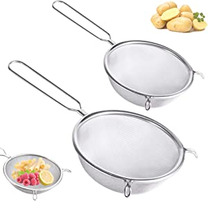 2 PCS Stainless Steel Fine Mesh Strainers,Double-Ear Kitchen Strainer,Food Strainers Sieve for Vegetables,Fruit,Eggs,Flour Filter,Pasta,Noodles,(6Inch and 8Inch)