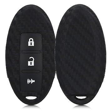 kwmobile Funda para Llave de 3 Botones para Coche Nissan - Carcasa Protectora Suave de Silicona - Case de Mando de Auto con diseño de Carbono
